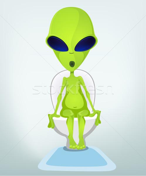 Vicces idegen rajzfilmfigura boldog zöld fürdőszoba Stock fotó © RAStudio