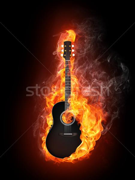 Acoustique guitare électrique feu flamme isolé noir Photo stock © RAStudio