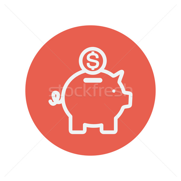 Piggy bank and dollar coin thin line icon Stock photo © RAStudio