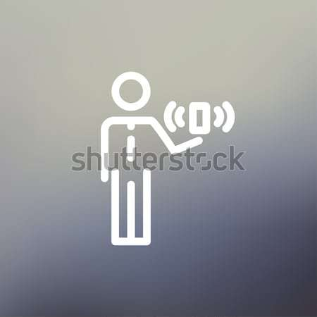 Foto stock: Homem · sem · fio · sinalizar · fino · linha · ícone