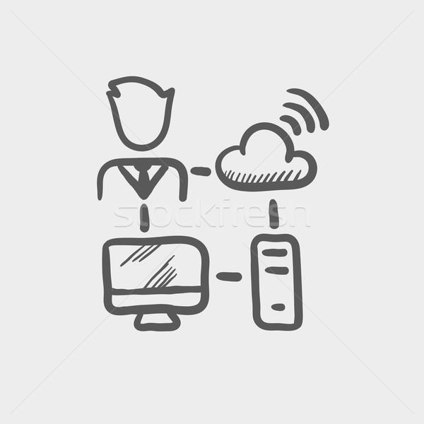 Mannelijke kantoormedewerker computer ingesteld wifi schets Stockfoto © RAStudio