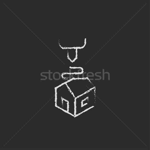 Három nyomtatás ikon rajzolt kréta 3D Stock fotó © RAStudio