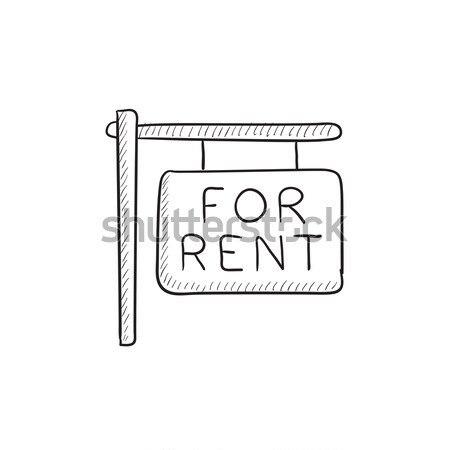 Stock photo: For rent placard icon drawn in chalk.