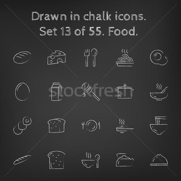 Stok fotoğraf: Gıda · tebeşir · tahta