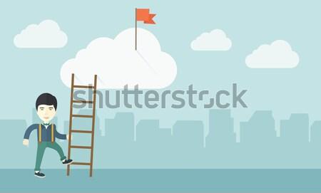 Man climbing the ladder. Stock photo © RAStudio