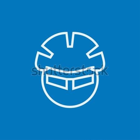 Férfi bicikli sisak szemüveg vonal ikon Stock fotó © RAStudio
