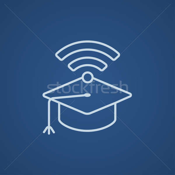 Graduation cap with wi-fi sign line icon. Stock photo © RAStudio