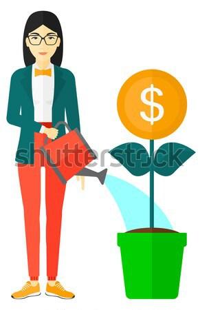 Vrouw geld bloem zorg Stockfoto © RAStudio