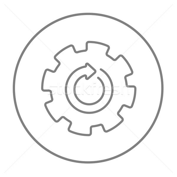 ストックフォト: ギア · ホイール · 矢印 · 行 · アイコン · ウェブ