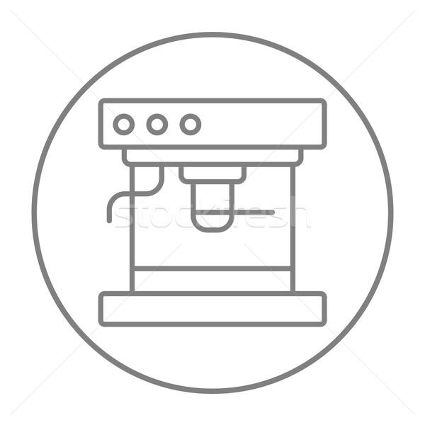 кофеварка линия икона веб мобильных Инфографика Сток-фото © RAStudio