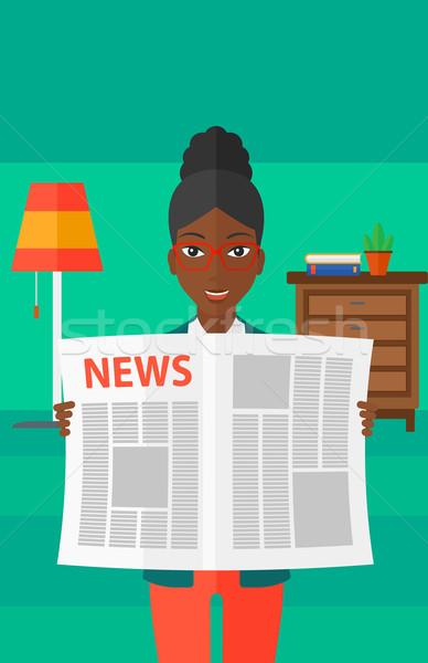 Verslaggever lezing krant vrouw kamer vector Stockfoto © RAStudio