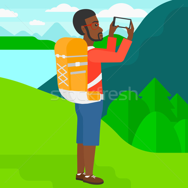 Zaino in spalla foto uomo panorama montagna Foto d'archivio © RAStudio