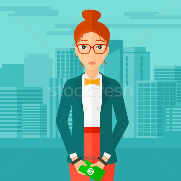 Nő megbilincselve bűnözés üzletasszony bilincs pénz Stock fotó © RAStudio