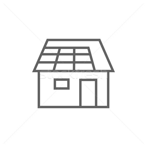 House with solar panel line icon. Stock photo © RAStudio