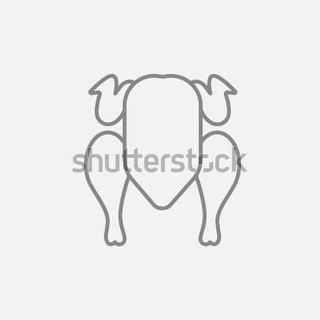Nyers tyúk vonal ikon sarkok háló Stock fotó © RAStudio