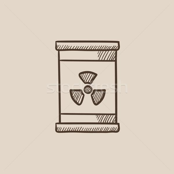 баррель излучение знак эскиз икона веб Сток-фото © RAStudio