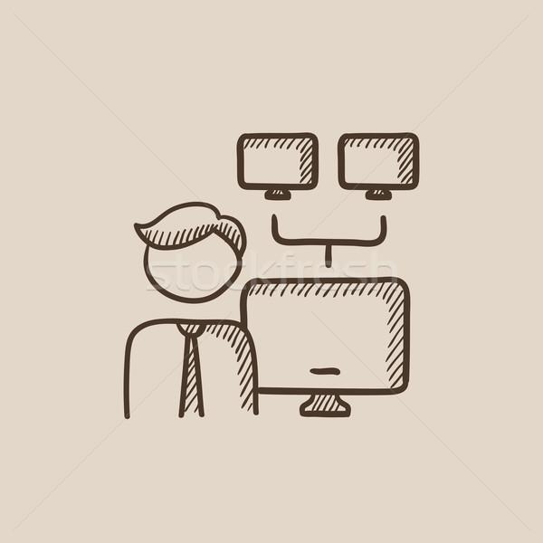 Rede administrador esboço ícone homem teia Foto stock © RAStudio