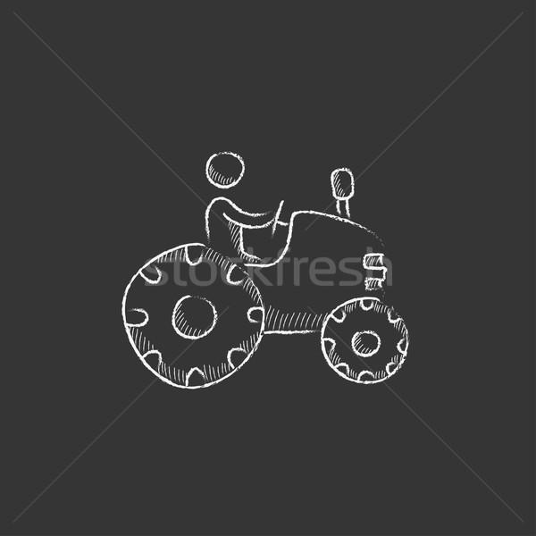 Man driving tractor. Drawn in chalk icon. Stock photo © RAStudio