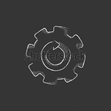 Gear wheel with arrow. Drawn in chalk icon. Stock photo © RAStudio