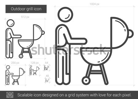 Man at barbecue grill line icon. Stock photo © RAStudio