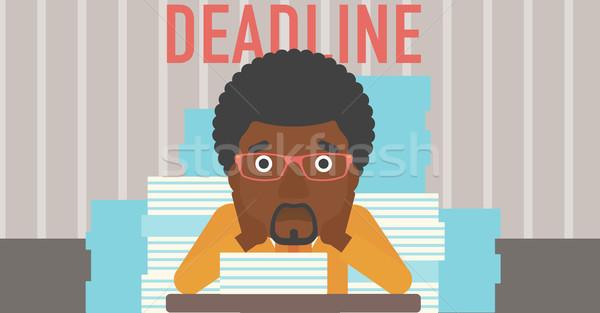 Homme problème date limite séance table Photo stock © RAStudio