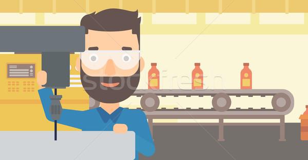 Férfi dolgozik unalmas malom hipszter szakáll Stock fotó © RAStudio