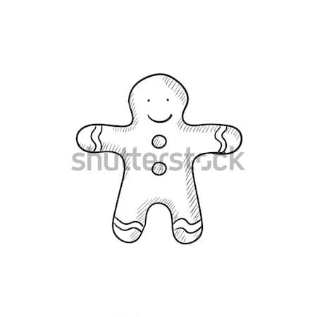 Mézeskalács ember rajz ikon vektor izolált kézzel rajzolt Stock fotó © RAStudio