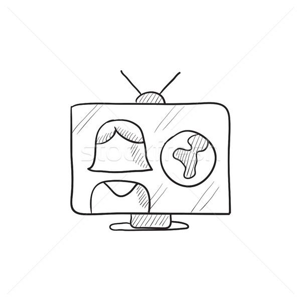 Tv verslag schets icon vector geïsoleerd Stockfoto © RAStudio