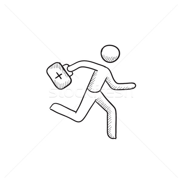 Paramedic running with first aid kit sketch icon. Stock photo © RAStudio