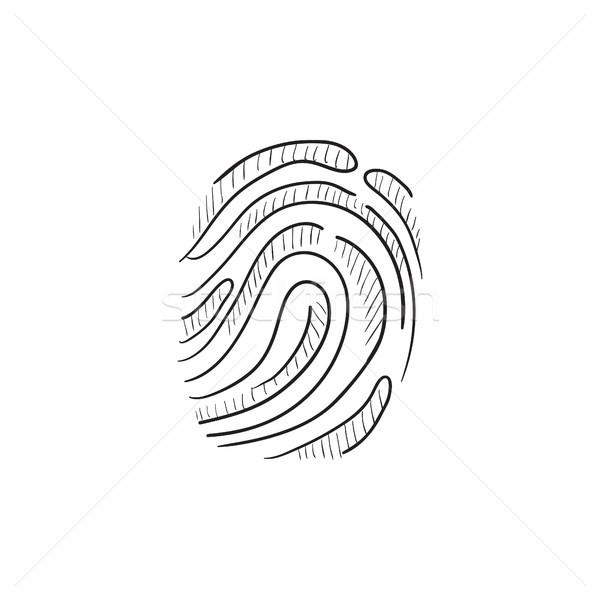 отпечатков пальцев эскиз икона вектора изолированный рисованной Сток-фото © RAStudio