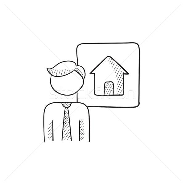 Makelaar schets icon vector geïsoleerd Stockfoto © RAStudio