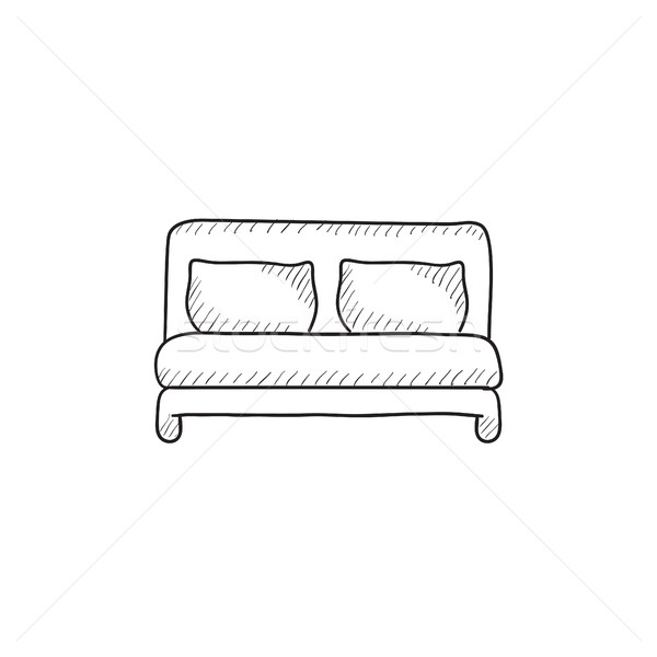 Double Bed Sketch Icon Vector Illustration C Andrei Krauchuk