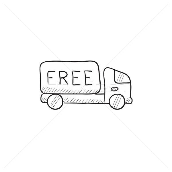 бесплатная доставка грузовика эскиз икона вектора изолированный Сток-фото © RAStudio