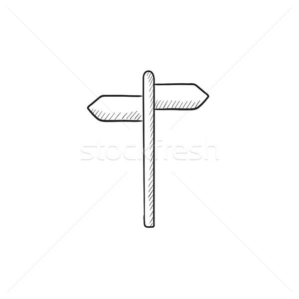 Seyahat trafik işareti kroki ikon vektör yalıtılmış Stok fotoğraf © RAStudio