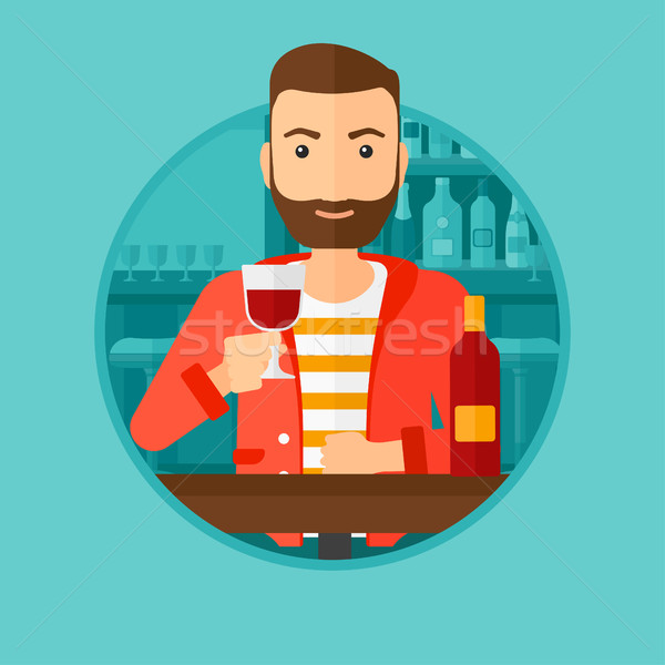 Man drinking wine at restaurant. Stock photo © RAStudio