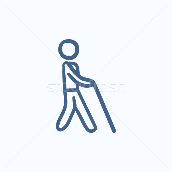 Blind man with stick sketch icon. Stock photo © RAStudio