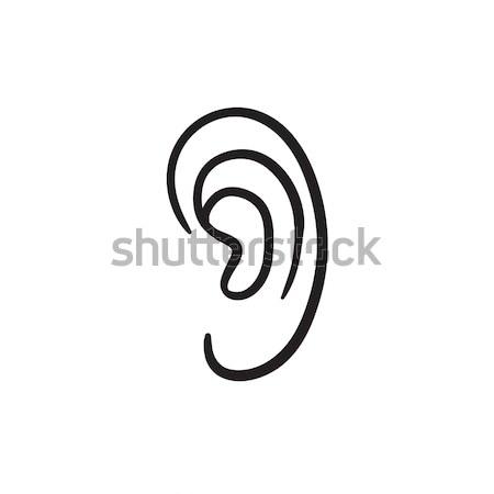 Human ear sketch icon. Stock photo © RAStudio