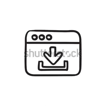 Böngésző ablak letöltés felirat rajz ikon Stock fotó © RAStudio