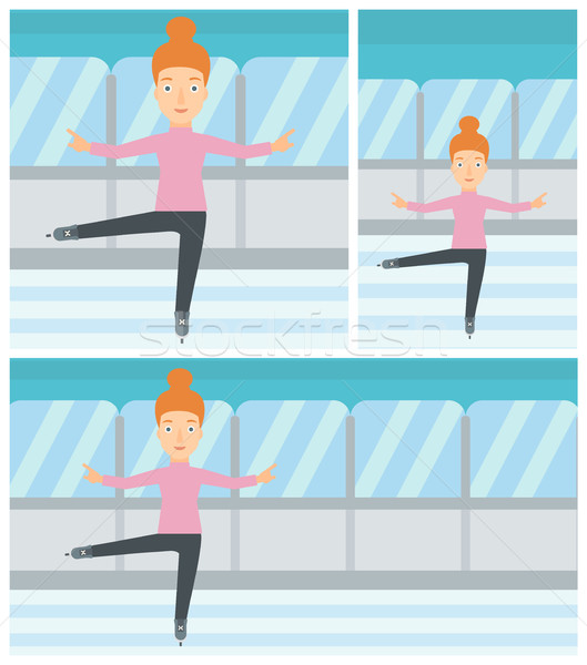 Female figure skater vector illustration. Stock photo © RAStudio
