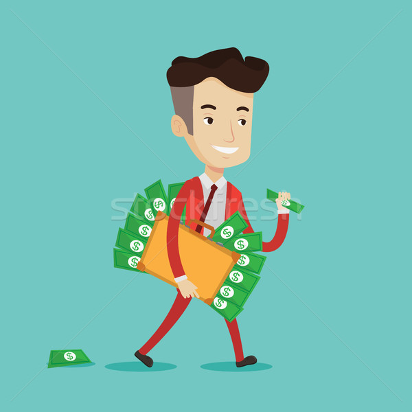 Affaires valise plein argent heureux marche Photo stock © RAStudio