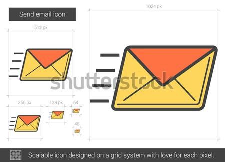 Envoyer courriel ligne icône vecteur isolé Photo stock © RAStudio