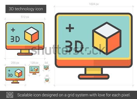 üç teknoloji hat ikon vektör yalıtılmış Stok fotoğraf © RAStudio