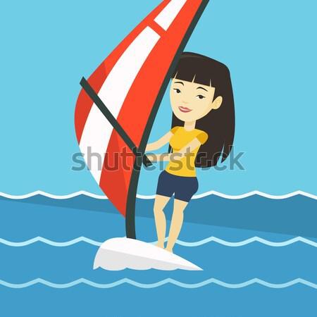 Professional wakeboard sports woman. Stock photo © RAStudio