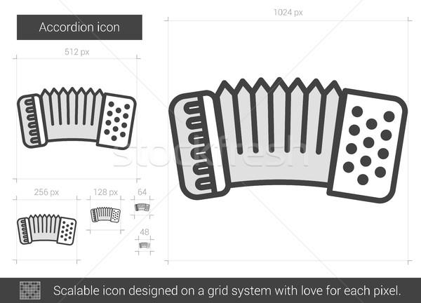 аккордеон линия икона вектора изолированный белый Сток-фото © RAStudio