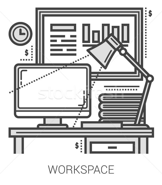 Stock photo: Workplace line icons.