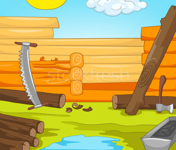 Cartoon background of rural house construction. Stock photo © RAStudio
