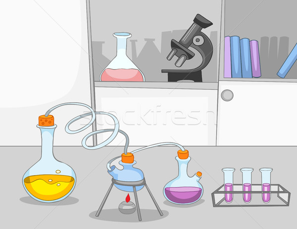 Cartoon background of chemical laboratory. Stock photo © RAStudio