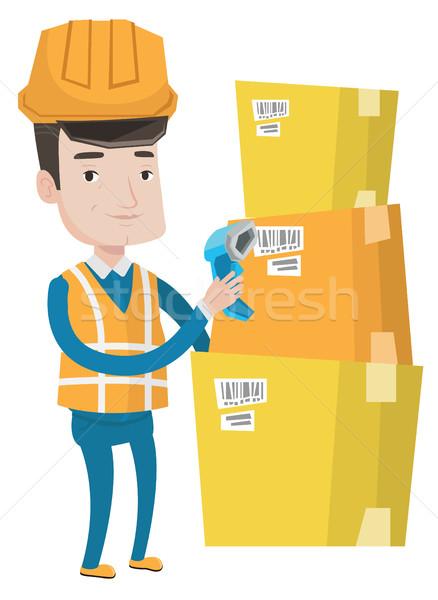 Magazijn werknemer barcode vak kaukasisch scanner Stockfoto © RAStudio