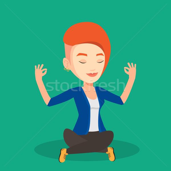üzletasszony meditál lótusz pozició kaukázusi csukott szemmel Stock fotó © RAStudio