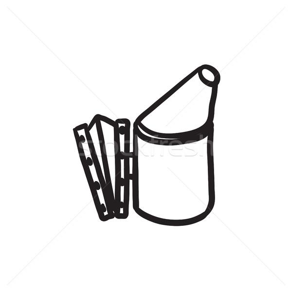 Arı kovan sigara tiryakisi kroki ikon web Stok fotoğraf © RAStudio